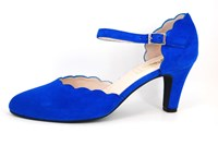 Wreefband pumps - blauw in grote maten