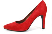 Spitse pumps - rood suede in kleine sizes