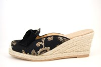 Retro sleehak espadrilles - zwart in grote sizes
