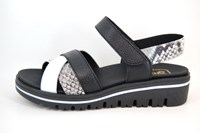 Comfortabele Trendy Sandalen - zwart wit slangenprint in grote sizes