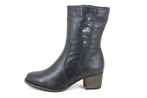 Zwarte leren halfhoge laarzen | Kleine Maten | Enkellaarzen | Stravers Luxe Schoenen