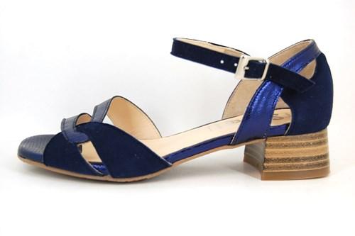 Beroemd Luxe sandalen lage hak - blauw | Grote Maten | Open schoenen @NK17