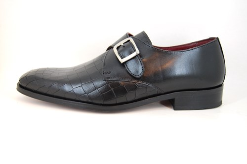 Single Monk Straps - Zwart Croco Leer
