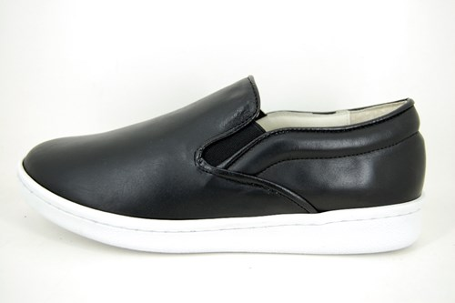 Slip-on sneakers - zwart leer